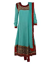 Vama Girl's Georgette Anarkali Suit (Green, 41)
