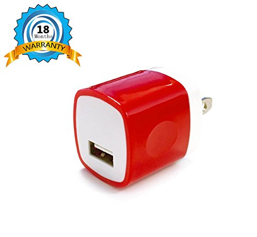 Wall Charger Universal Powerful Travel Adapter HV® (Red/ White) Color for iPhones, Samsung, LG, Sony, HTC, Tablets, and any USB devices - 18 Months Warranty (Red Iphone Charger compare prices)