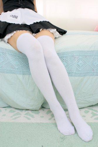 【コスプレ衣装】スーパーロングオーバーニーソックス (白・フリーサイズ) 大人気の一足☆絶対領域を楽しめる!