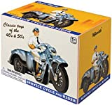 Retro Plastic Motorcycle with Sidecar and Rider 1:24 Scale ~ Toysmith Reissue of 1950 Thomas Toy