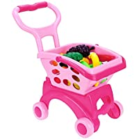 Arshiner Kids Little Supermarket Shopping Cart With Vegetable And Fruits,Pink