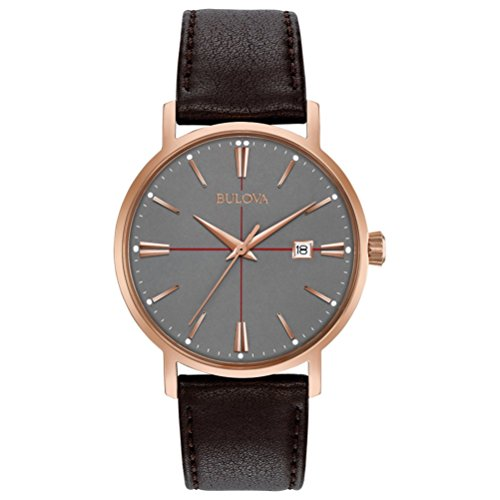 Bulova Aerojet Men's Quartz Watch with Grey Dial Analogue Display and Brown Leather Strap 97B154