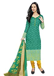 RK Fashion Womens Cotton Un-Stitched Salwar Suit Dupatta Material ( Rajguru-Ganpati-5001-Green-Free Size )