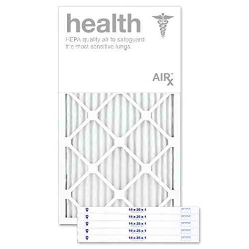 AiRx HEALTH 14x25x1 Air Filters - Optimal for Health Protection - Box of 6 - Pleated 14x25x1 MERV 11 Air Filters, AC Filters, Furnace Filter - Energy Efficient