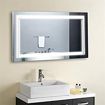DECORAPORT 36 Inch * 28 Inch Horizontal LED Wall Mounted Lighted Vanity Bathroom Silvered Mirror Large Cosmetic Mirror with Touch Button (A-CK150-L)