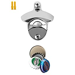 Bottle opener and Cap catcher Kit MECO SU304 Wall Mount Bottle Opener with Strong Mounted Stainless Steel Screws and Round Magnetic Bottle Cap Catcher