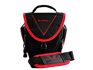 TGC ® Easy Access SLR Camera Case for Nikon D5200 Plus Accessories (Black with Crimson Red Trim/Lining)