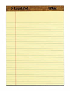 TOPS The Legal Pad, 8.5 x 11.75 Inch, Legal Rule, Perforated Top, 50 Sheets, Canary (7532)