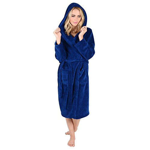 Ladies Coral Fleece Bath Robe With Hood Navy Dressing Gown Housecoat Large