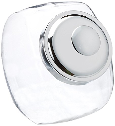Office Settings OSISJ01 Penny Candy Display Container, Lid Glass Jar, Metal, Chrome, 1/Carton, 2 quart (Candy Jar For Office compare prices)