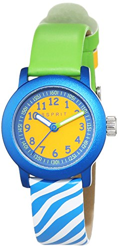 ESPRIT Cutie Face reloj unisex de cuarzo con verde esfera analógica pantalla y oro piel ES106414032