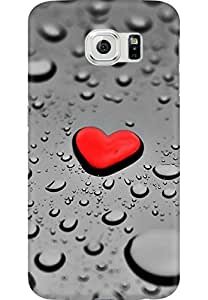 AMEZ designer printed 3d premium high quality back case cover for Samsung Galaxy S6 (red heart droplets)