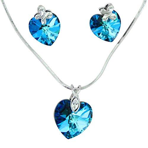 Parure Daphnée e compagnia-Jolie Parure Donna Collana di orecchini cristalli Swarovski Elements cuore 1028
