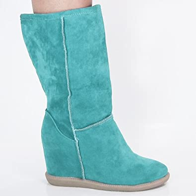 Tom03 Mint F-Suede Winter Snow Boots Hidden Wedge Mid-Calf Women Size Shoes-10