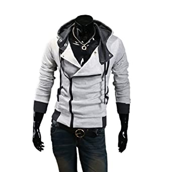 Amoin Men Casual Fashion Zipper Slim Fit Hoodies Jackets Coats Cottory Men s Oblique Zipper
