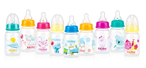 Nuby Printed Non-Drip Bottle, 4 Ounce, Colors May Vary (Printed Baby Bottles compare prices)