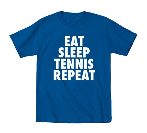 Eat Sleep Tennis Repeat Kids Sports - Toddler T-Shirt - Royal Blue - 4T back-957144