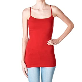 Plain Long Spaghetti Strap Tank Top Camis Basic Camisole Cotton, Red, Size Small