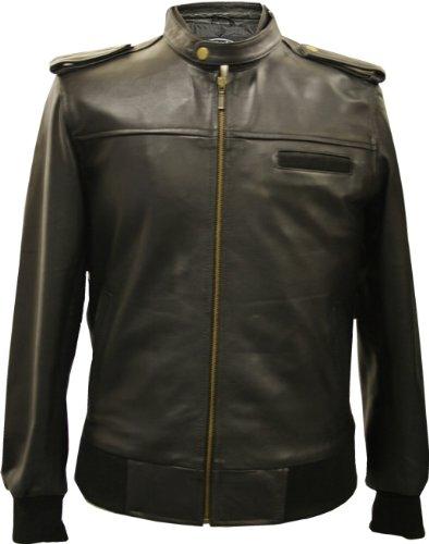 RAW - Mens Black Modern Blouson Leather Jacket - S / 38