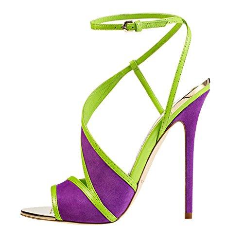 Shoesofdream Women'S Juannaystifa Buckle Casuals Summer High Thin Heel Multicolour Party Pump 14 M Us