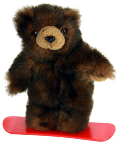 "Purr-Fection Mini Minky Snowboard Brown Bear 9"" Plush - 1"