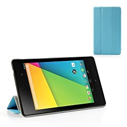 Slick Shell Tri-Fold Blue Stand Premium PU Leather Case w/ Sleep Function for Google Nexus 7 FHD 2nd Generation