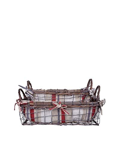 Home Essentials Set of 2 Lined Rectangular Wire & Rattan Baskets