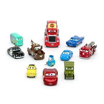 Ensemble de 11 figurines Radiator Springs Disney Pixar Cars - •Flash McQueen, Ramone, Sally, Sheriff, Martin, Fillmore, Red, Guido, Luigi et Le Sergent