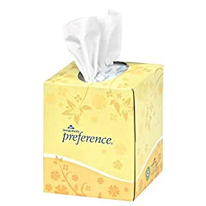 """Georgia-Pacific Preference 46200 White 2-Ply Facial Tissue, Cube Box, 8.85"""" Length x 7.65"""" Width (Case of 36 Boxes, 100 Sheets Per Box)"""
