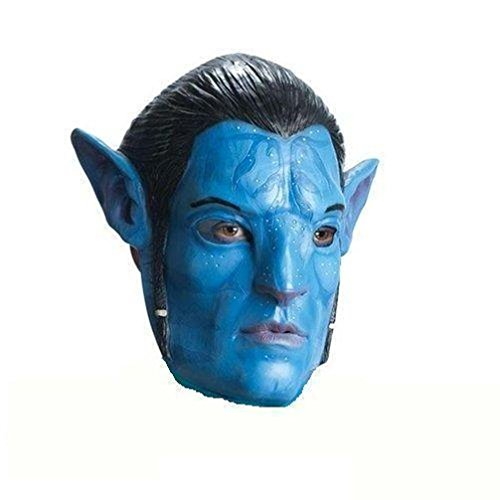 [Popcandy Avatar Movie Licensed Jake Sully 3/4 Vinyl Adult Mask Blue Cheap Closeout] (Avatar Makeup)