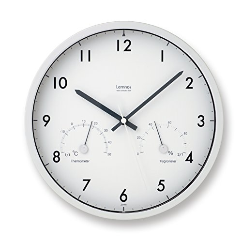 Lemnos Air clock 温湿度計付電波時計 ブラウン LC09-11W BW