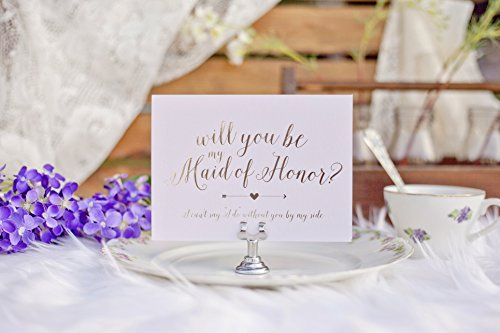 Will You be My Bridesmaid? Bridal Party Invitations - Silver Foil & Lavender Purple