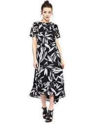 Femella Women's Black floral asymmetric midi dress (DS-1381358-1011-BAW-S)