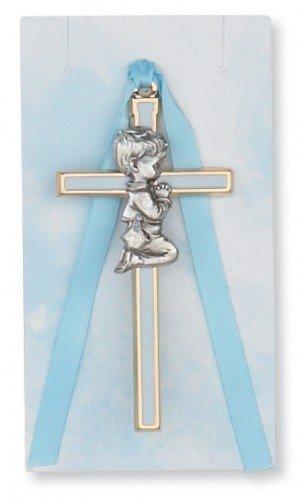 Pewter Blue Baby Boy Crib Cross