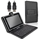 "TOMTOP Protective Leather Case + Mini USB Keyboard for 7 inch 7"" Tablet PC Black"