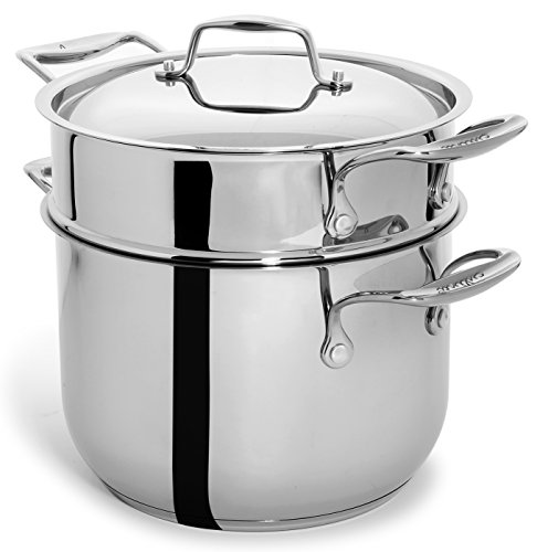 Culina 6 Quart Pot Cookware with Pasta Insert and Lid, 18/10 Heavy Gauge Stainless Steel, Silver, Dishwasher Safe