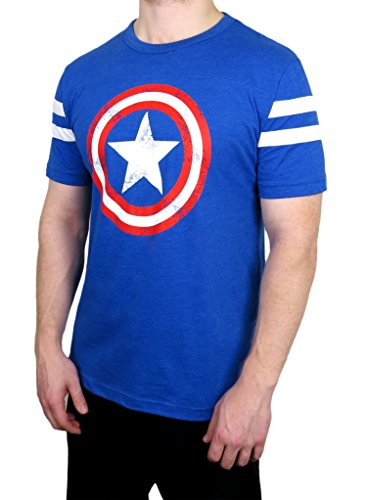 Marvel Captain America Varsity Football Tee Royal Blue/White