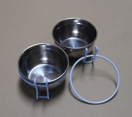 Image of Lot of 2 Bird Parrot Cage Stainless Steel Seed Water Feeder Cups--4