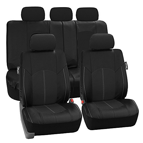 FH Group PU008BLACK115 Full Set Seat Cover (Perforated Leatherette Airbag Compatible and Split Bench Ready Black) (Mazda 3 Leather Seat Covers compare prices)