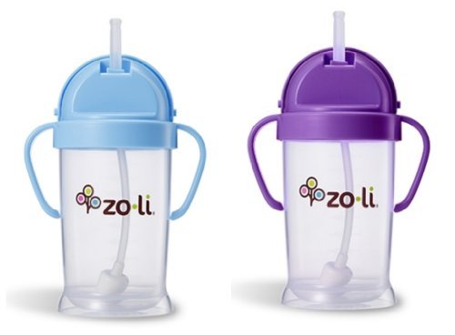 Zoli Baby Bot Xl Straw Sippy Cup 9 Oz 2 Pack, Blue/Purple front-379361