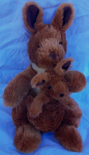 "13"" Plush Kangaroo And Baby In Pouch Doll Toy By Kohls"