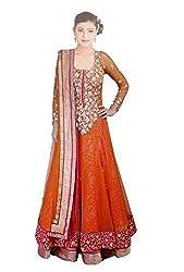 Be With Me Women's Net Salwar Suit Dress Material (Deepika Orange Suit_Orange)