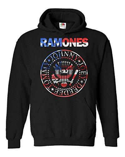 "Felpa Unisex ""Ramones - USA Flag"" - Felpa con cappuccio rock band LaMAGLIERIA, S, Nero"
