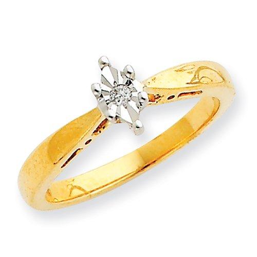 10k & Rhodium Polished Diamond Promise Ring Real Goldia Designer Perfect Jewelry Gift