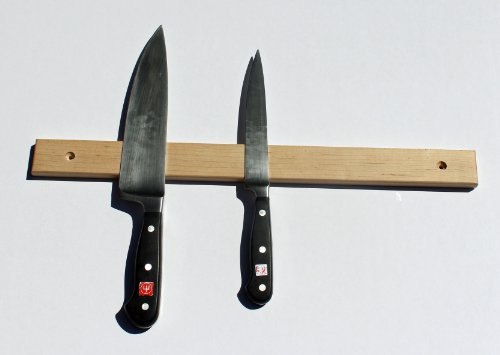 """Hand Crafted Hard Wood Magnetic Knife Rack, 18"""" Maple, Wall Mounted"""