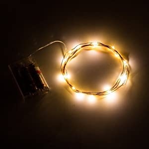 "Improved Design with Timer Micro LED 20 Warm White Color Starry Lights Battery Operated on 7 Ft with 4"" spacing Long Silver Color Ultra Thin String Wire+ 100% Products Satisfaction Guarantee"