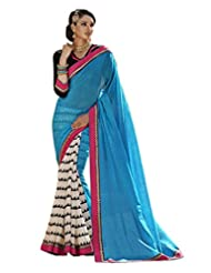 Status Blue & Off White Color Printed Saree On Bhaglpuri Silk Fabric.