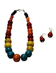Villcart Versatile Rainbow Colored Bead Jewellery Set in Various Coloured Ceramic for Women