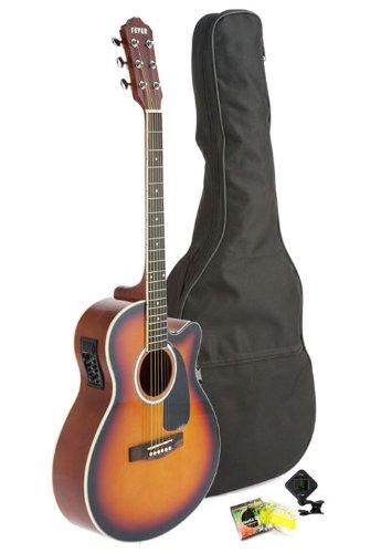 Fever 5015Ce-Sb Full Size Jumbo Body Steel String Acoustic-Electric Guitar, Sunburst