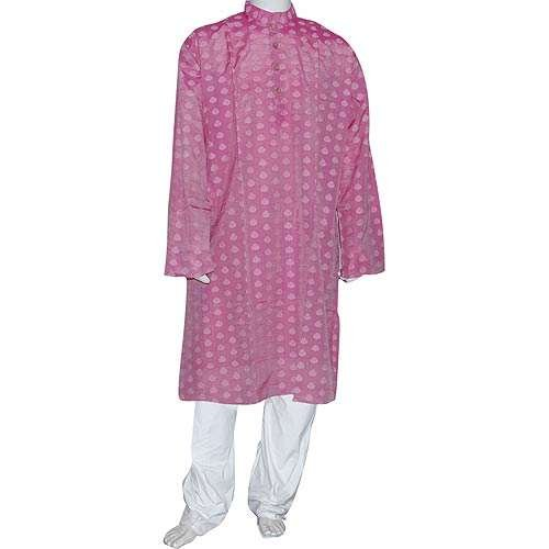 Mens Wedding Dress Woven Kurta Pajama Silk and Cotton Blend (XL/46)